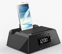 2015 Best Gifts Alarm Clock Docking Station Bluetooth Speaker FM Radio Remote Control For IOS and Android