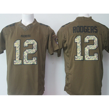 Cheap Men's #12 Aaron Rodgers High quality 100% embroidery logos Army green general Free shipping(China (Mainland))
