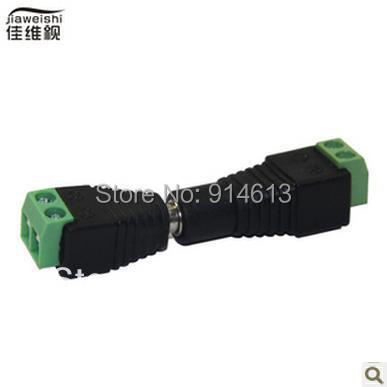 Free Shipping 200 pairs Female + Male Mark Polarity DC Power Jack Connector Adapter For 5050 3528 Single Color LED Strip Light