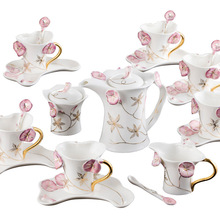 drinkware sets coffee tea sets high-grade porcelain 21 head red Petunia Coffee suit European wedding gift