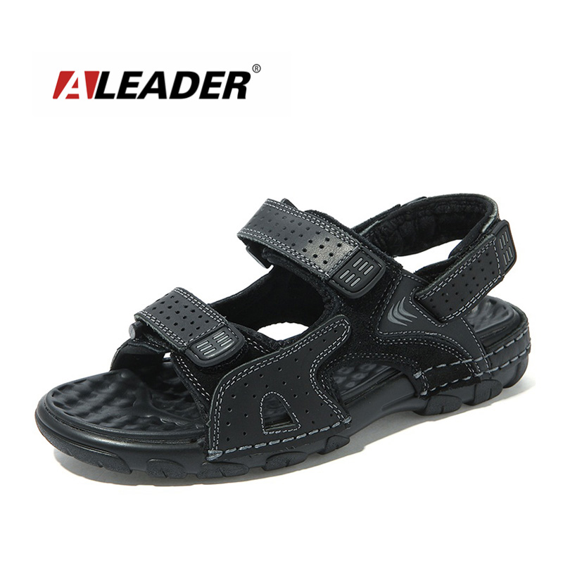 Aleader Mens Leather Sandals New 2016 Summer Outdoor Shoes Sport Sandals Men Breathable Beach Shoes Slippers sandalias hombre