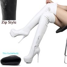 BONJOMARISA Plus Größe 32-46 Mode Über Knie Oberschenkel Hohe Stiefel Frauen Frühling Sexy Dünne High Heels Plattform Frauen schuhe Frau(China)