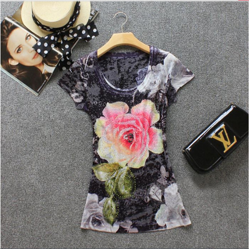2015 European Style Summer Women Tops Luxury Mysterious Black Print Diamonds Slim O-neck Silk Cotton T Shirts Plus Size YT1(China (Mainland))