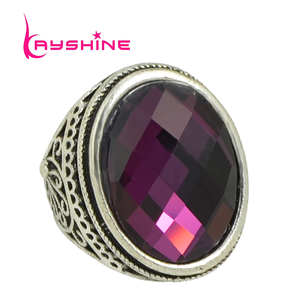 Buy New Fashion Vintage Style Antique Silver Big Colorful Natural Stone Crystal