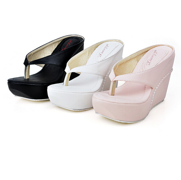 Plus Size 34-45 Hot 2015 High Heels Women Flip Flops Summer Sandals Platform Wedges Slippers Girl's Fashion Beach Shoes - LOVE YC Store store