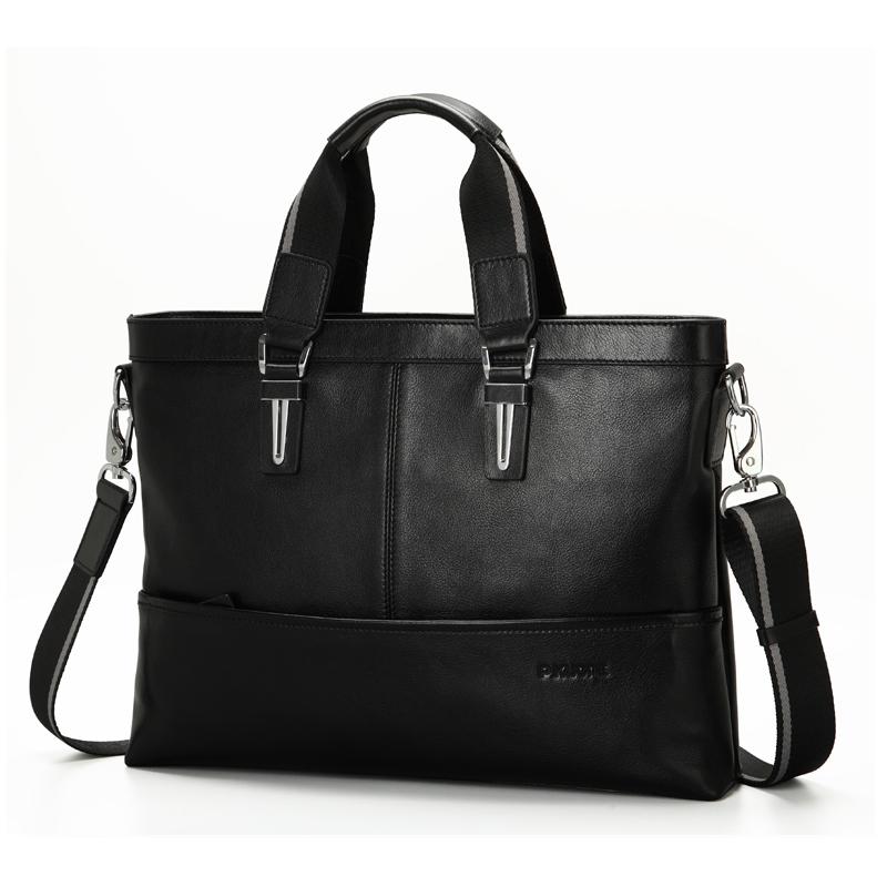 Business Men Genuine Leather Briefcase Luxury Brand Handbags Men Shoulder Messenger Bag Cowhide Leather Men Bag 15.7 Laptop Bag<br>