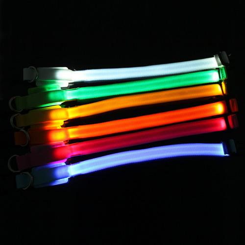 Safety Pet Dog Small-Scale LED Nylon Collar Light-up Flashing Glow Dog Collars 18-28cm Size(China (Mainland))