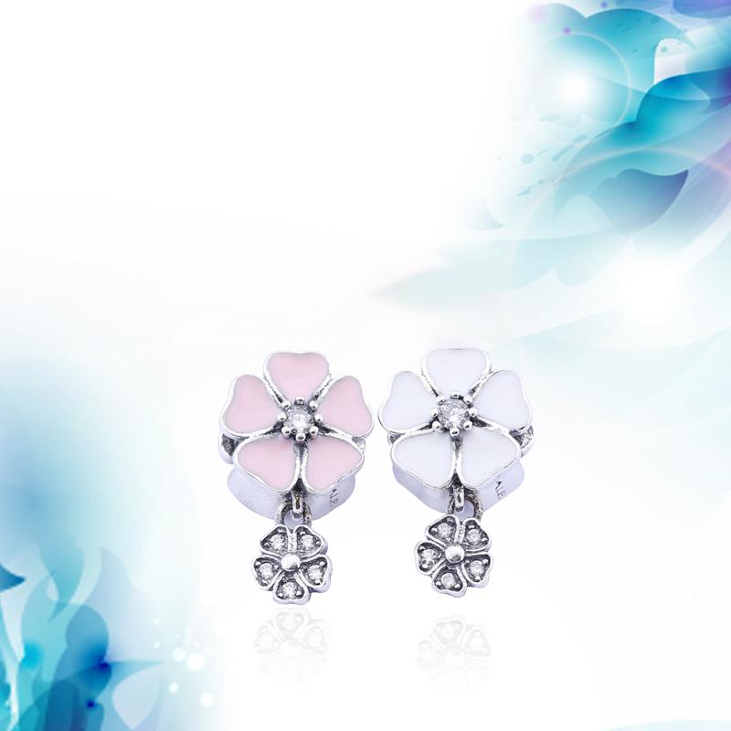 925 Sterling Silver Flower Garden Charm Pendant PINK Enamel Beads Fits Pandora Bracelets For Diy European Necklace(China (Mainland))