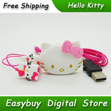 100% Brand New Mini Fashion Hello Kitty Shaped Card Reader MP3 Music Players With Hello Kitty Earphone&Mini USB