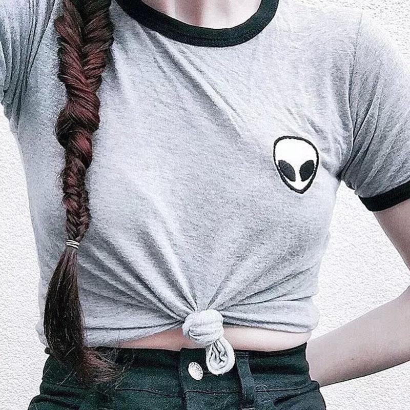 Women T Shirts Summer Causal Alien Embroidery Short Sleeve Tshirt Solid Stripe O Neck Shirt Top TX29(China (Mainland))