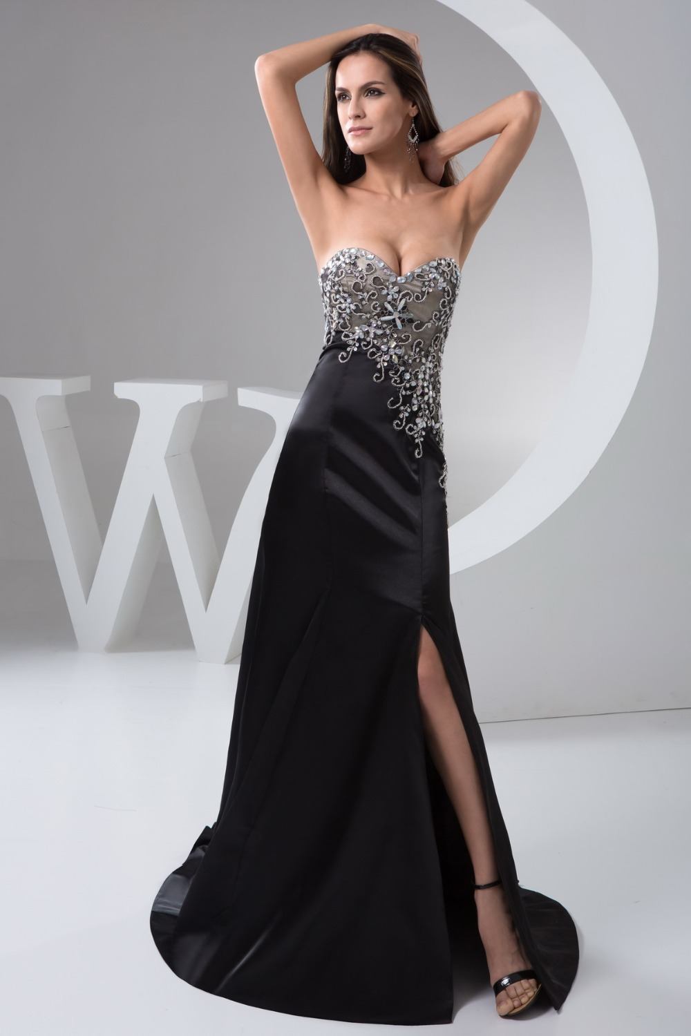 favorable evening dresses long,Floor length Court Train and Lace evening dress,sexy long evening dress