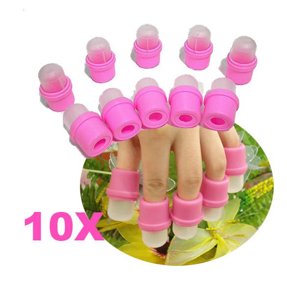 Мода 10 Шт. Переносной Ногтей Замочите Soaker Для Снятия Лака DIY Ногтей искусство Инструмент Акриловые УФ-Гель Для Снятия Лака Soaker Клип Soaker Caps