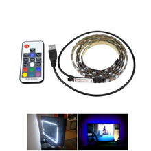 Buy 50CM 1M 2M 3M 4M 5M RGB LED Strip 5050 LED Strip Flexible Light TV Background Lighting Adhesive Tape Ribbon+ RF Control for $2.99 in AliExpress store