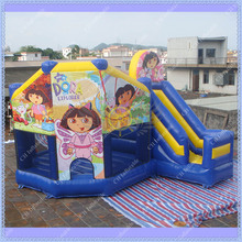 Dora Inflatable Jumping Castle, Inflatable Castle Combo, Commercial Inflatable Dora Bouncy Castle for Kids, DHL Free Shipping(China (Mainland))