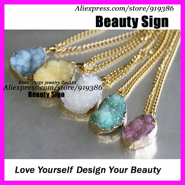 Free ship 5pcs of Mixed colors Natural agate druzy stone Charm Pendant Necklace with 24 kt. Gold Plated Chain(China (Mainland))