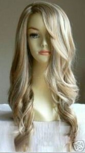 New fashion long curly blonde wig hair wigs + weaving cap(gift)