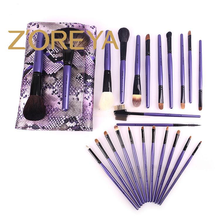 Hot Professional Zoreya 24 pcs purple color makeup brushes set cosmetic brush Tools free shipping(China (Mainland))