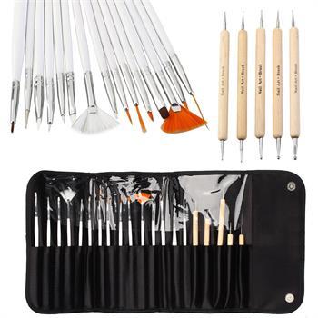Acrylic Nail Brush Wholesale Brush 20 Pcs Nail Tool Set Colored Drawing Implements Makeup free Shipping(China (Mainland))