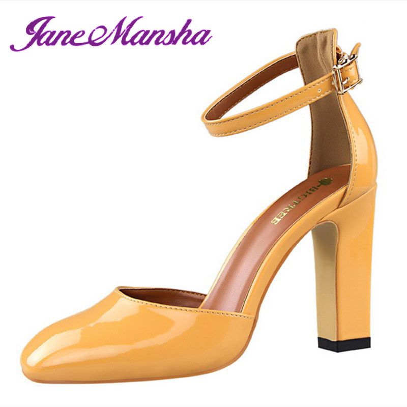 Mary Janes High Heels SEXY Square Heels Square Toe Buckle Strap Patent Leather Party Wedding Shoes Women Pumps Escarpins PHP123(China (Mainland))