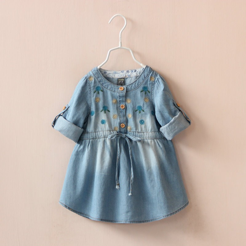 Christmas costumes jeans casual dress long sleeve Embroidery flowers denim girls dress clothes ...
