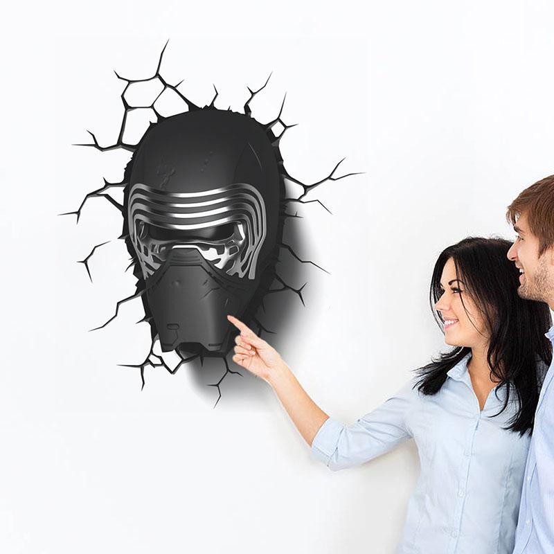 New 3D DIY Star Wars Black Helmet Removable Vinyl Wall Sticker Kids Room Bedroom Washstand Decor Decoration Adesivo Wall Decals(China (Mainland))