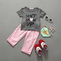 New 2016 summer girls Pullover children clothing set clothes short sleeve Letter T shirt pant kids