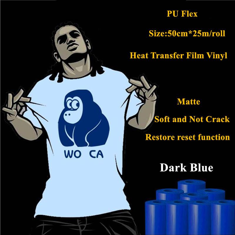 PU Flex heat transfer vinyl for clothing Matte Dark Blue thermel press film for t shirt heat transfer film vinyl 50cm*25m/roll(China (Mainland))