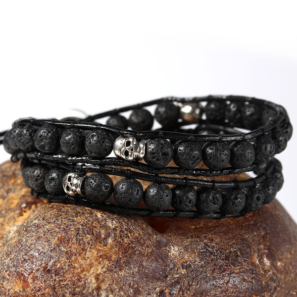 2015 new Black volcanic Bracelet skeleton men Fashion Jewelry Stainless steel button bracelets bangles - Guangzhou Pealing Co., Ltd. store