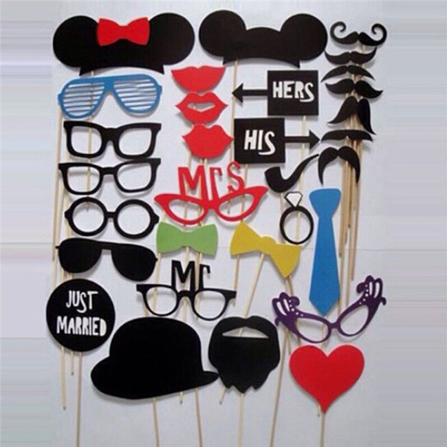 N633 31pcs DIY Photo Booth Prop Wedding Birthday Party On A Stick Decorations Stick Wedding Party Favor Mask Photo Booth Props(China (Mainland))