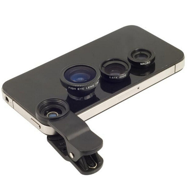 Fisheye Lens 3 in 1 Mobile Phone Clip Lenses Fish Eye Wide Angle Macro Camera Lens