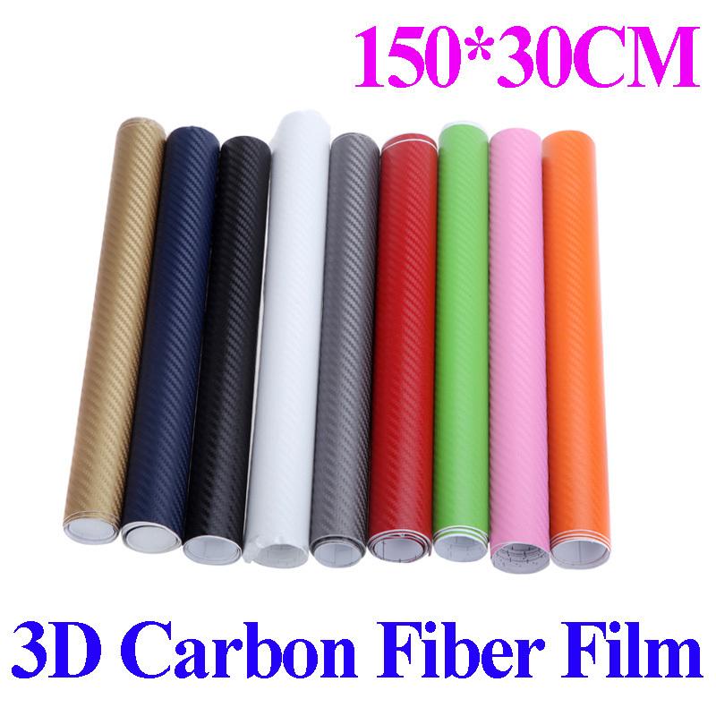 150 30cm 3d carbon fiber film vinyl sticker car body interior decoration stickers pink red green. Black Bedroom Furniture Sets. Home Design Ideas