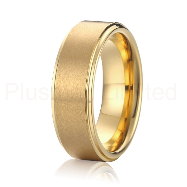 factory wholesale cheap price mens and womens Alliance Jewelry Gift 18k Gold Plated 8mm titanium rings Enagement Wedding Band
