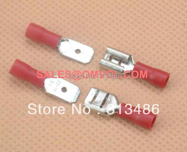 6.3mm Female and Male Insulated Wire Terminal Connectors 22-16 AWG