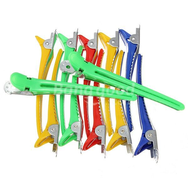 EastRay 12Pcs Colorful Hairdressing Salon Sectioning Clips Duck Clamps Hair Styling Grip(China (Mainland))