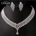 Elegant Rhodium Plated Crystal Bridal Jewelry Promotion Rhinestone Necklace Earrings Fashion Costume Wedding Jewelry Sets
