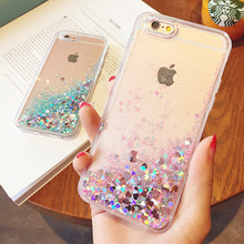 Hot Love Heart Glitter Stars Dynamic Liquid Quicksand Soft TPU Phone Back Cover Case For Iphone 6 6S 6Plus 6SPlus 7 7Plus 5 5S(China (Mainland))