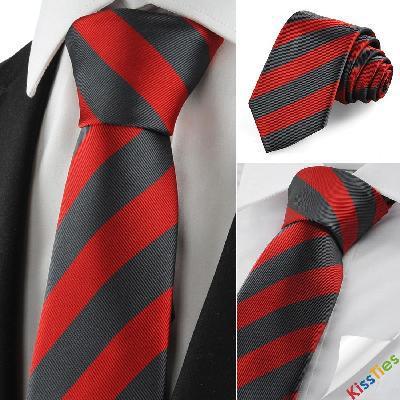 striped red grey mens tie suit necktie formal wedding