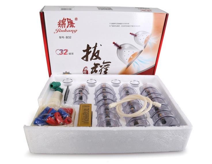 32 Pieces Cans cups chinese vacuum cupping kit pull out a vacuum apparatus therapy relax massagers curve suction pumps(China (Mainland))