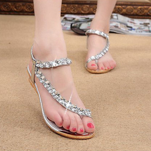 2015 Gold Silver Color Summer Women String Beading Elastic Band Sandal Fashion Casual Wedges Sandals XWZ095 - Lovely Boutique. store