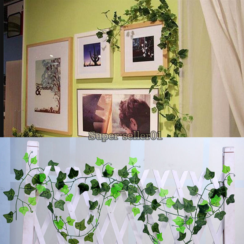 1Pcs Green Plastic Ivy Grape Leaf Garland Plants Wisteria Article Foliage Flower hot(China (Mainland))