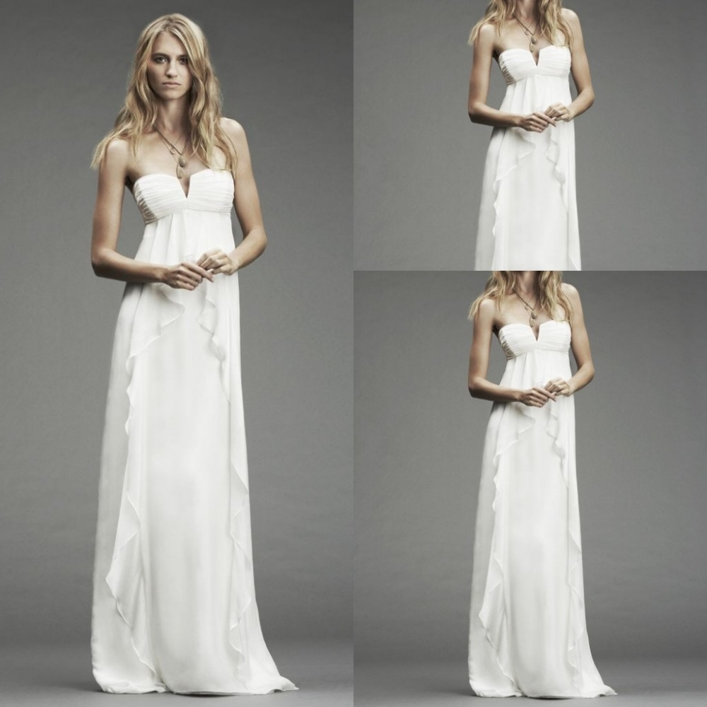 Chiffon strapless empire sexy wedding dress long ruffles for Strapless wedding dresses with long trains