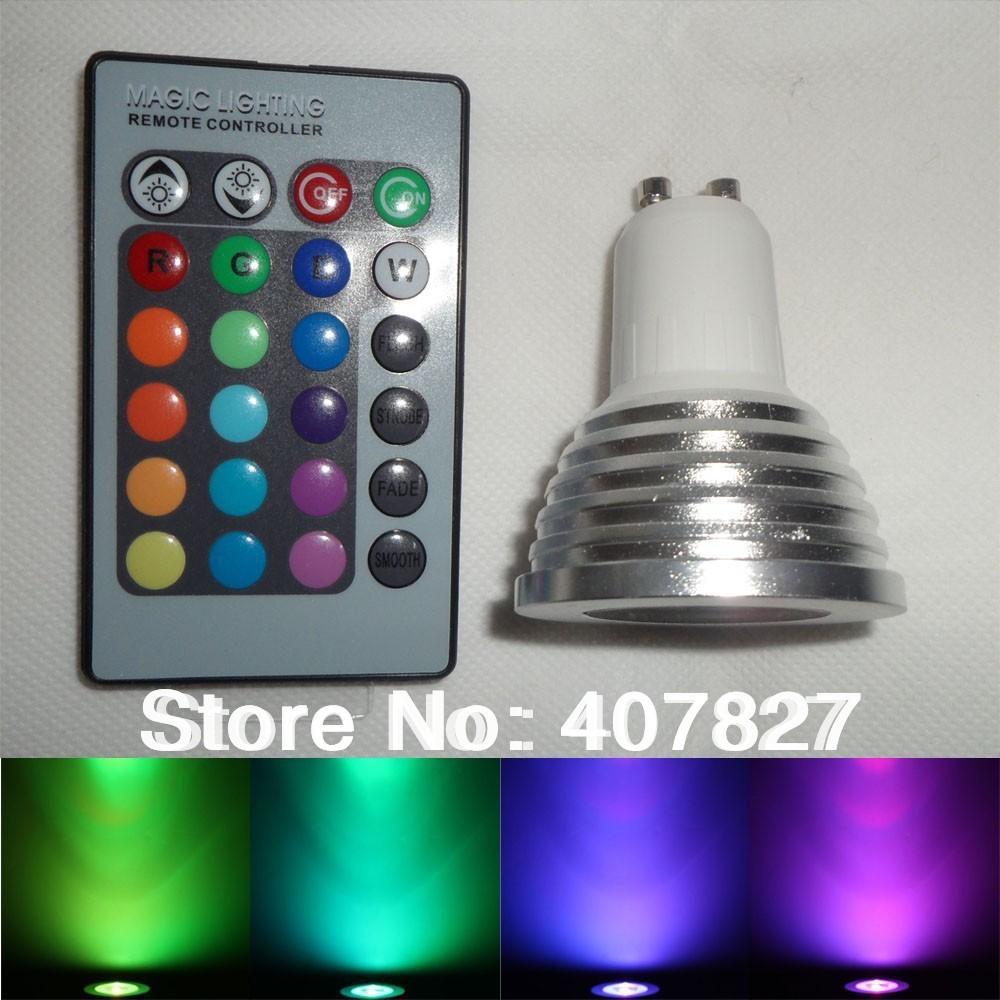 GU10 3W Color LED RGB Spot Light Bulb 85-265V + 24 Keys Remote Memory Function Free Shipping(China (Mainland))
