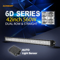 Auxmart 6D 42 560W LED Light Bar Cree Chips Combo Beam Bar Light Offroad 12v 24v