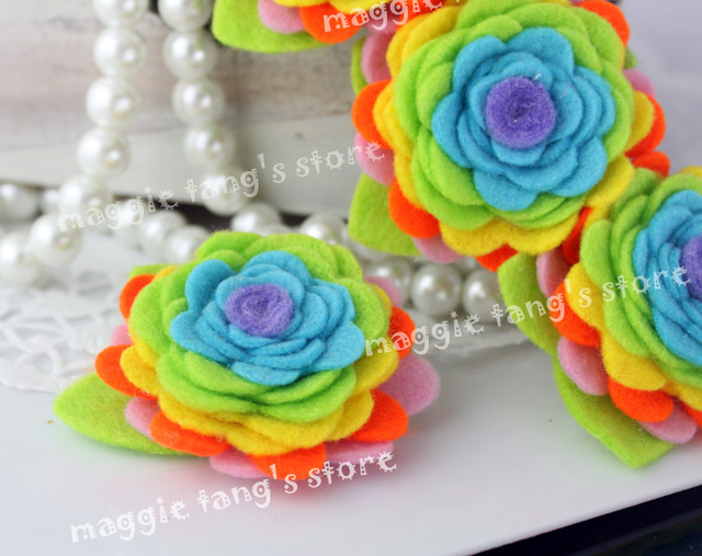 "3"" Girl's Rainbow Felt flowers Baby wool felt hair clips hair bows handmade B021 Mixture colors 100pieces / lot"