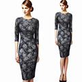Dresses Womens 2016 Elegant Floral Print Vintage Fitted Casual Stretch Formal Pencil Sheath Bodycon Party Dresses