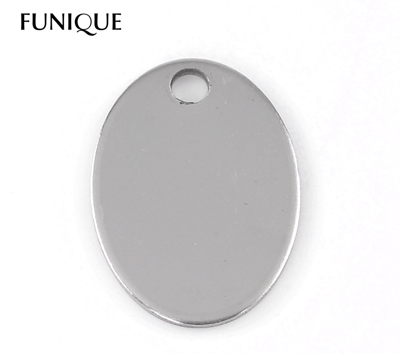 """FUNIQUE 10PCs Silver Tone Oval Stainless Steel Tags Pendants Stamping Blanks 24x17mm(1""""x5/8"""") For Necklaces Jewelry Making(China (Mainland))"""
