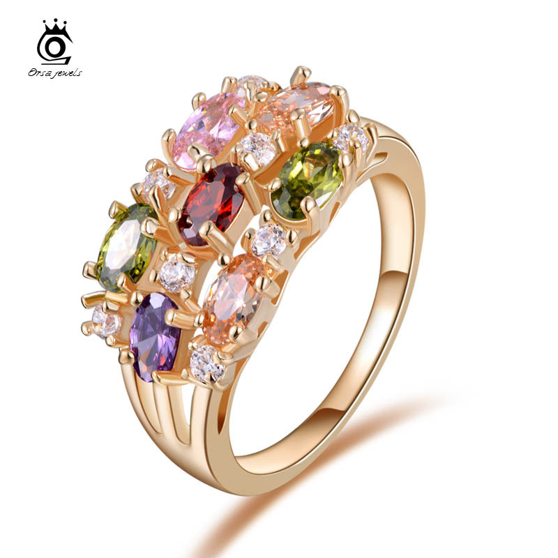 Luxury 18K Rose Gold Plated Colorful AAA Austrian Zircon Crystal Mona Lisa Ring For Women Birthday