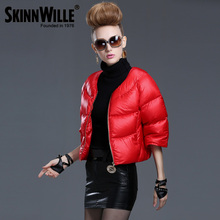 Skinnwille 2015 New Arrival Women Fashion Flare sleeve Short Down Coat Female Thick Brand Down Jacket(China (Mainland))