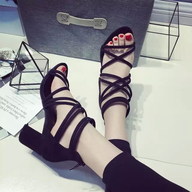 Square heels US Size shoes women sandals 2015 summer style fashion Shoes cross straps hollow White gray  -  pretty house_J store