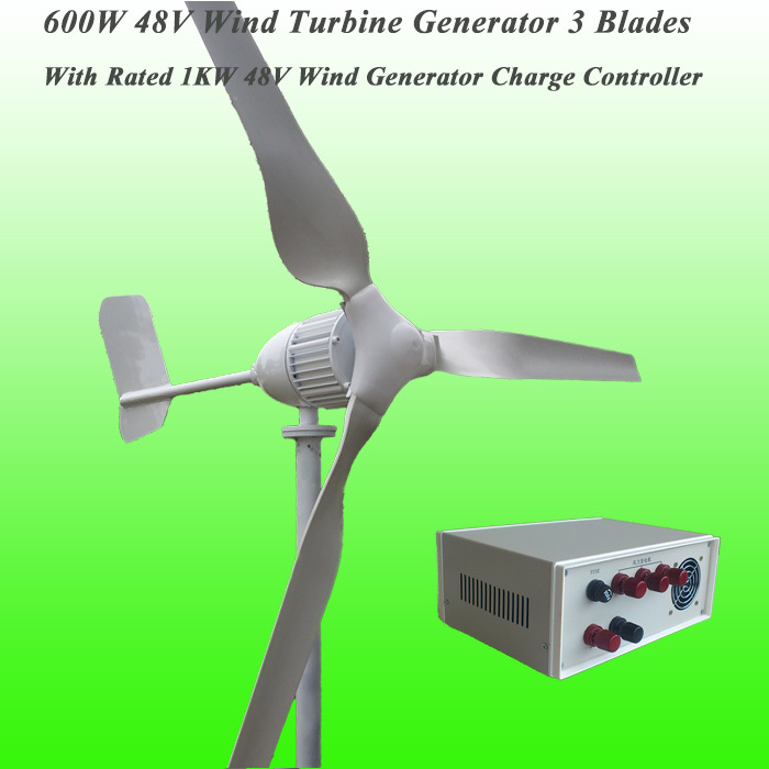 2016 New Arrival 3 Blades Rated 600W 48V Wind Generator & Rated 1KW 24V Wind Charge Controller Wind Power Generator Kit(China (Mainland))